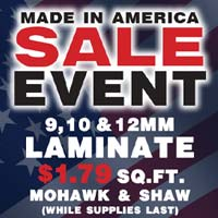 Made in America Laminate Sale going on now at TLC Flooring Boutique in Las Vegas!